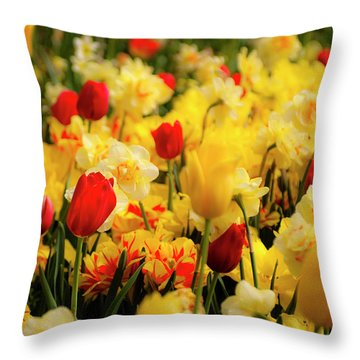 Tulips And Daffodils Throw Pillow by Tamyra Ayles