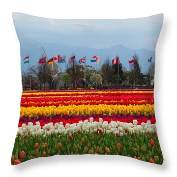 Tulips And Flags Throw Pillow by Karen Molenaar Terrell