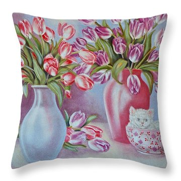 Tulips And Kittens Throw Pillow by Jan Law