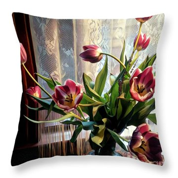 Tulips And Lace Throw Pillow