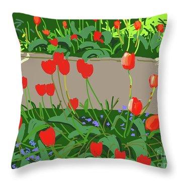 Tulips And Ladybirds Throw Pillow