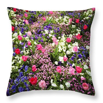 Tulips And Other Colorful Flowers In Spring Throw Pillow