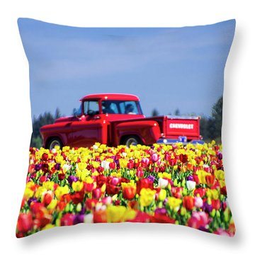 Tulips And Red Chevy Truck Throw Pillow
