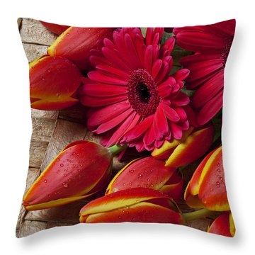 Tulips And Red Daisies  Throw Pillow by Garry Gay