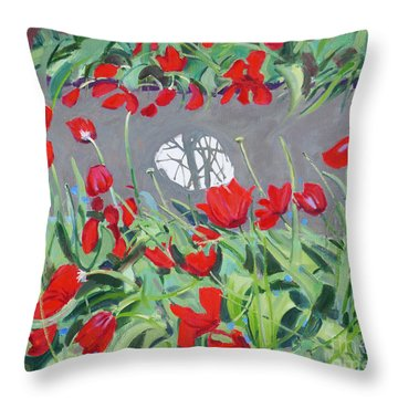 Tulips And Reflection Throw Pillow
