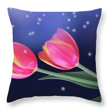 Tulips And Stars Throw Pillow