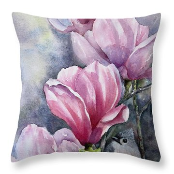 Throw Pillow featuring the painting Tulips And Titmouse by Mary McCullah
