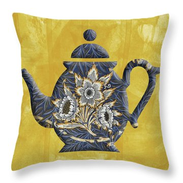 Tulips And Willow Pattern Teapot Throw Pillow