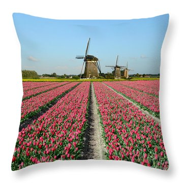 Tulips And Windmills In Holland Throw Pillow