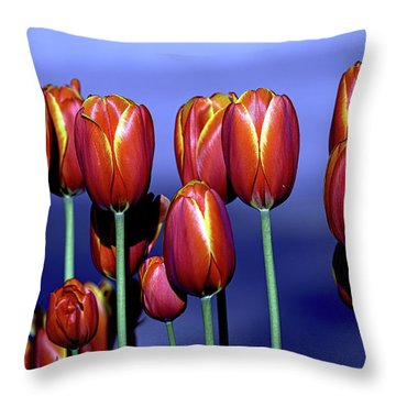 Tulips At Attention Throw Pillow