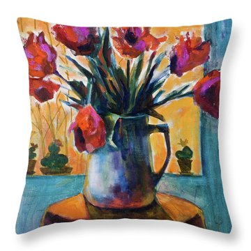 Tulips At Sunset Throw Pillow by Maxim Komissarchik