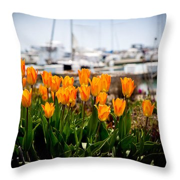 Tulips By The Harbor Throw Pillow