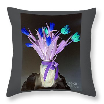 Tulips Cancer 1 Throw Pillow