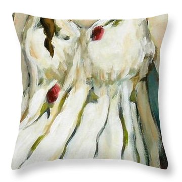 Tulips Throw Pillow by Carrie Joy Byrnes