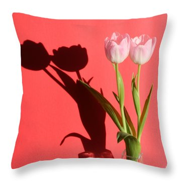 Tulips Casting Shadows Throw Pillow