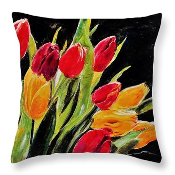 Tulips Colors Throw Pillow by Khalid Saeed