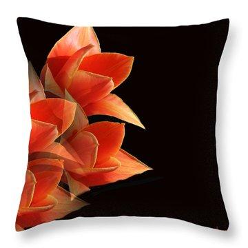 Tulips Dramatic Orange Montage Throw Pillow