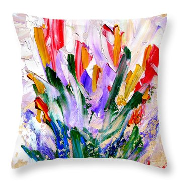 Throw Pillow featuring the painting Tulips by Fred Wilson