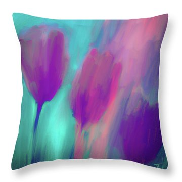Throw Pillow featuring the digital art Tulips II by Jim Vance