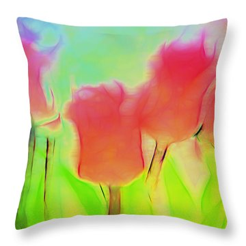 Tulips In Abstract 2 Throw Pillow