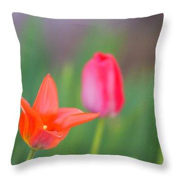Tulips In My Garden Throw Pillow