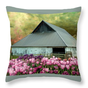 Tulips In Skagit Valley Throw Pillow