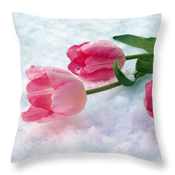 Tulips In Snow Throw Pillow