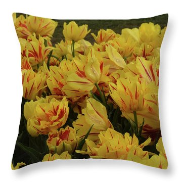 Tulips In The Garden Tulips In The Park  Throw Pillow