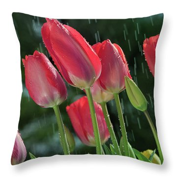 Throw Pillow featuring the photograph Tulips In The Rain by William Lee
