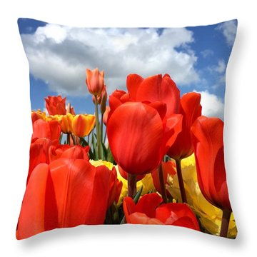 Tulips In The Sky Throw Pillow