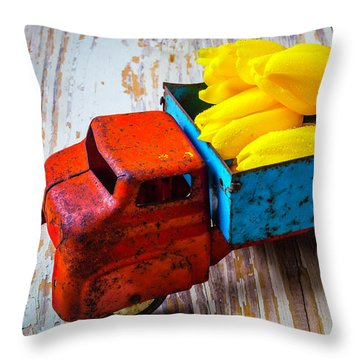 Tulips In Toy Truck Throw Pillow