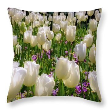 Tulips In White Throw Pillow