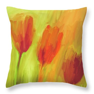 Throw Pillow featuring the digital art Tulips by Jim Vance