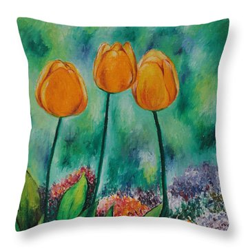The Three Tulips Throw Pillow