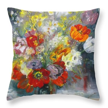 Tulips, Narcissus And Forsythia Throw Pillow