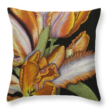 Tulips Of Fire Throw Pillow