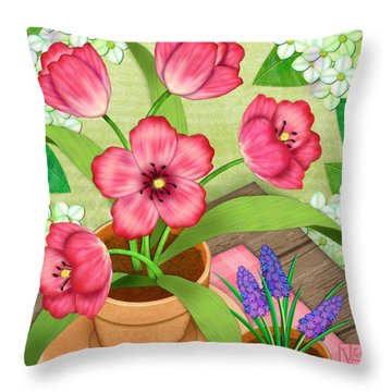 Tulips On A Spring Day Throw Pillow