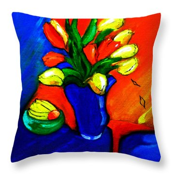 Tulips On My Table Throw Pillow
