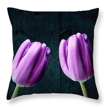 Tulips On Wood Throw Pillow