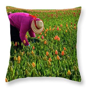Tulips Picker Throw Pillow