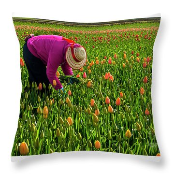 Tulips Picker Throw Pillow