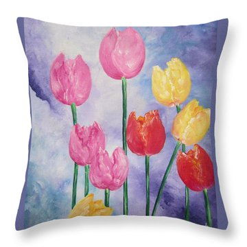 Tulips - Red-yellow-pink Throw Pillow