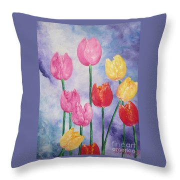 Ten  Simple  Tulips  Pink Red Yellow                                Flying Lamb Productions   Throw Pillow
