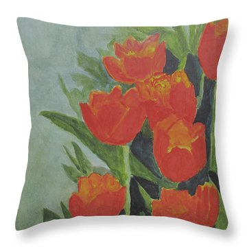 Throw Pillow featuring the painting Tulips by Sandy McIntire