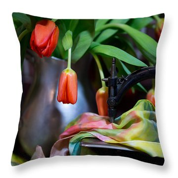 Throw Pillow featuring the photograph Tulips by Sharon Jones