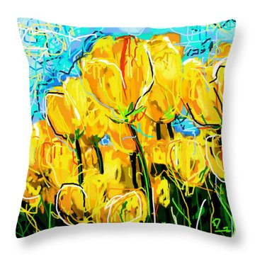 Tulips Throw Pillow by Sladjana Lazarevic
