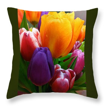 Throw Pillow featuring the photograph Tulips Smiling by Marie Hicks