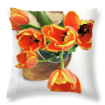 Throw Pillow featuring the pyrography Tulips by Stephanie Frey