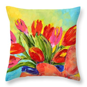 Tulips Tied Up Throw Pillow