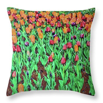 Throw Pillow featuring the painting Tulips Tulips Everywhere by Deborah Boyd